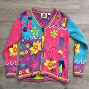 HSN Storybook Knits Cardigan Fish Theme Sweater